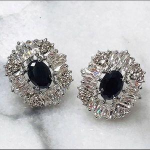 Jet Black Crystal in Pretty Cubic Zirconia Setting